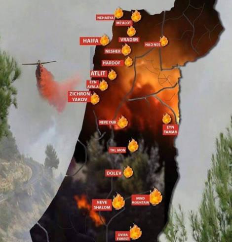 Les incendies en Israël